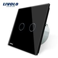 Livolo 2 Gang 1 Way Wall Touch Switch White Crystal Glass Switch Panel EU Standard VL