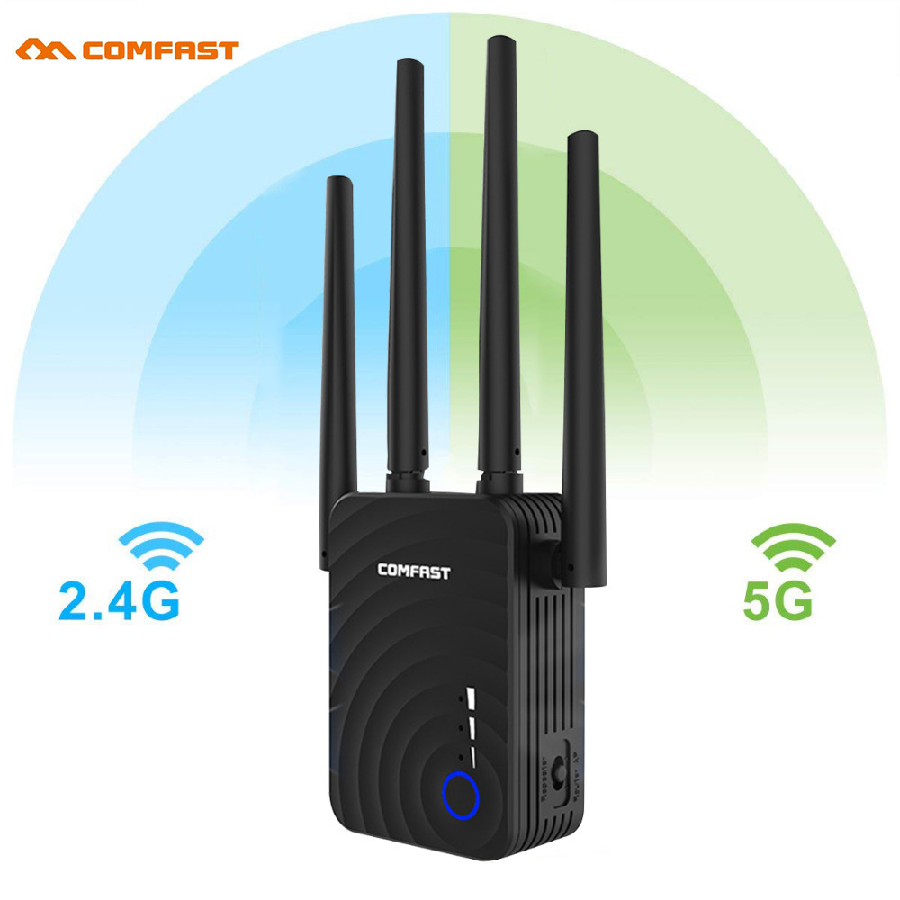 1200Mbps COMFAST CF-WR754AC Wireless WiFi Range Extender 2.4/5Ghz Dual Band Repeater Signal Booster with 4 Ethernet Antennas(China)