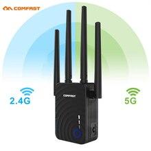1200 Мбит/с COMFAST CF-WR754AC беспроводной WiFi расширитель диапазона 2,4/5 ГГц двухдиапазонный усилитель сигнала для ретранслятора с 4 антеннами Ethernet