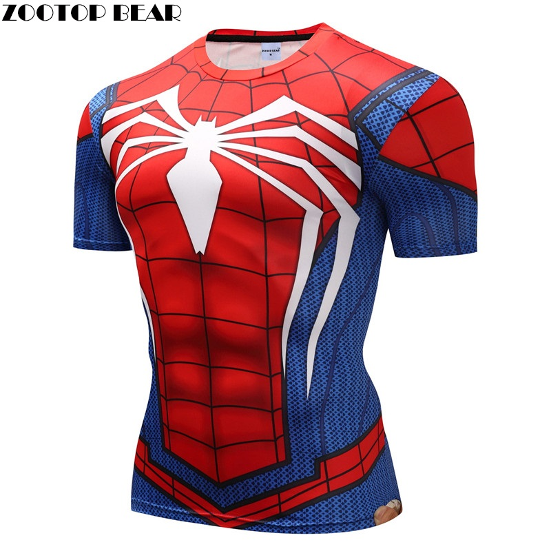 Spiderman 3D T Shirts Men Compression Short Sleeve T-shirts Superhero Quick     Tops Bodybuilding Fitness Tshirts Tees ZOOTOP