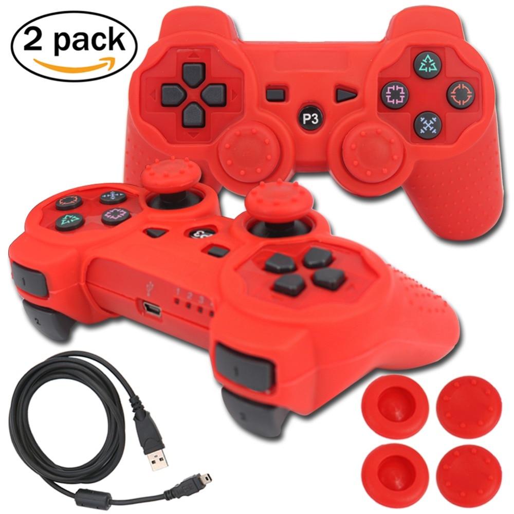 blueloong 2 шт. красный и красный цвет беспроводной Bluetooth джойстик геймпад для Playstation 3 контроллер PS3 + бесплатная доставка