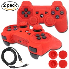 blueloong 2pcs Red and Red Color Wireless Bluetooth Joystick Gamepad For Playstation 3 PS3 Controller + Free Shipping