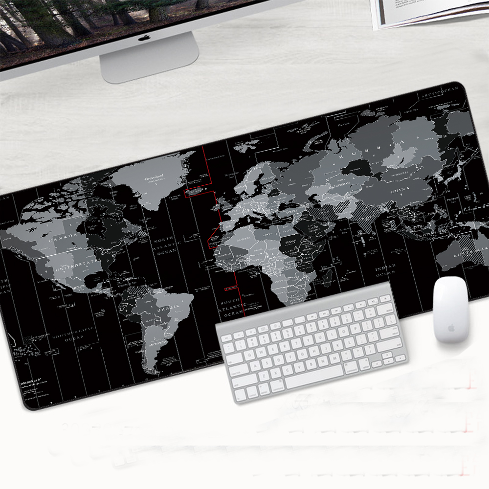 Large Gaming Mousepad World Map Anti-slip Edge Waterproof Rubber Desk Mouse Pad
