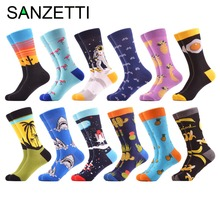 SANZETTI 12 pairs lot Funny Bicycle Cactus Pattern Crew Skateboard Socks Colorful Men s Combed Cotton