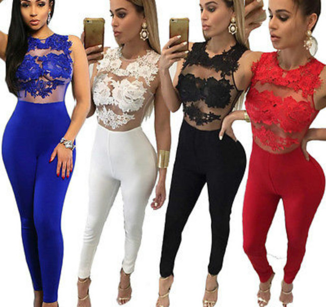 6d41e3d40119 Sexy Fashion Women Sleeveless Bandage Bodycon Jumpsuit Lace Romper Trousers  Evening Clubwear Red