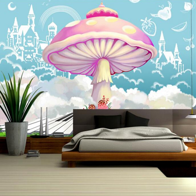 Baby Custom 3 d Modern Wallpaper Desktop 3d Photos Hd Nordic Hand-Drawn Fantasy Mushroom TV Room Furniture Interior Wallpaper выравнивающий вв крем baviphat urban dollkiss pore blur bb