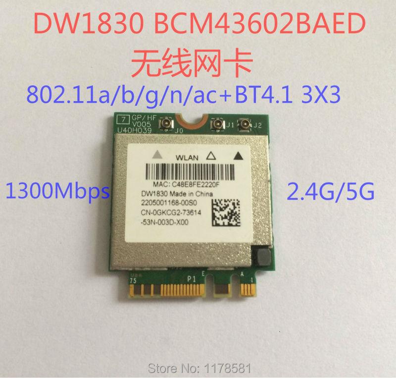 Prix pour BCM943602BAED DW1830 ac NGFF 1300 Mbps BT4.1 0 HHKJD HHKJD WiFi Sans Fil Carte Réseau mieux que BCM94352Z DW1560 soutien mac os