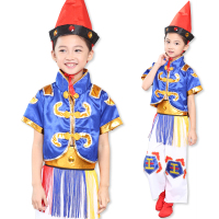 Children's Mongolia Dance Costume Kids Play Drum Stage Dance Clothing Girl National Dai Dance Clothing Sets Boy Hmong Clothes 89