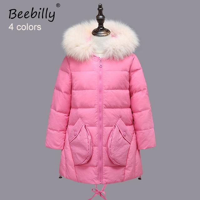 BEEBILLY 2017 New Brand Girls Duck Down Outerwear&Coats Children Winter -30 Degree Warm Long Clothes Girl Down Jackets for Girls