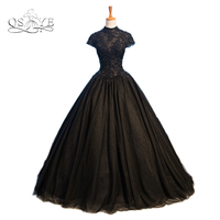 Vintage Black Ball Gown Pizzo Formale Abiti Da Sera 2017 Vestido Collo Alto Applicazioni di Perline Sweep Treno Prom Dress Gowns