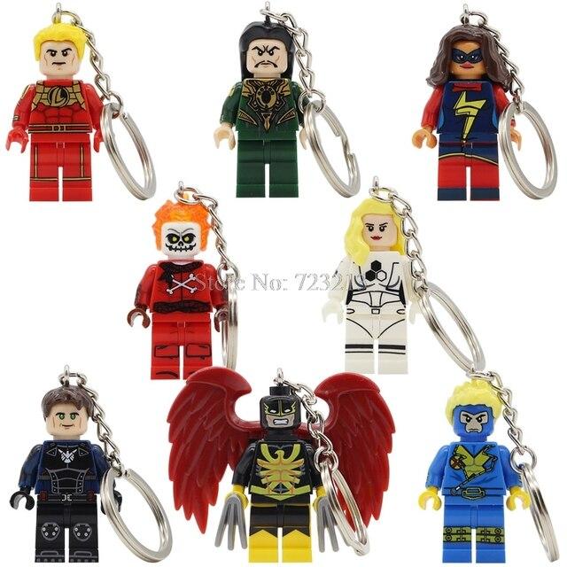 Única Venda Havok Blazing Crânio Mace Tocha Humana Mulher Invisível Figura Keychain Jeffrey Ms Marvel Mandarim Blocos de Construção de Brinquedos
