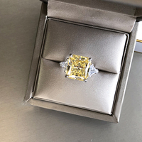 4.5ctw Gold Yellow Radiant Moissanite Similar to Yellow Diamond Ring Fine gold jewelry Silver for Women