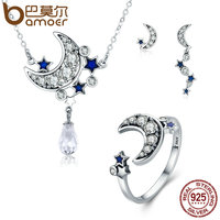BAMOER Genuine 925 Sterling Silver Jewelry Set Moon Star Dazzling CZ Bridal Jewelry Sets Sterling Silver