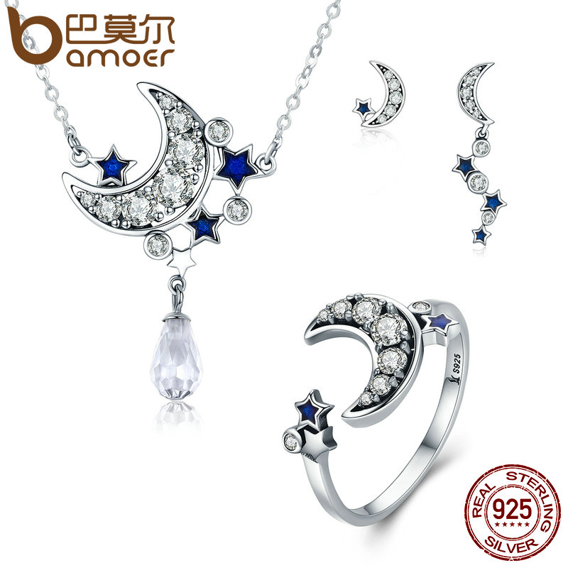 BAMOER Genuine 925 Sterling Silver Jewelry Set Moon & Star Dazzling CZ Bridal Jewelry Sets Sterling Silver Jewelry ZHS040 bamoer 925 sterling silver