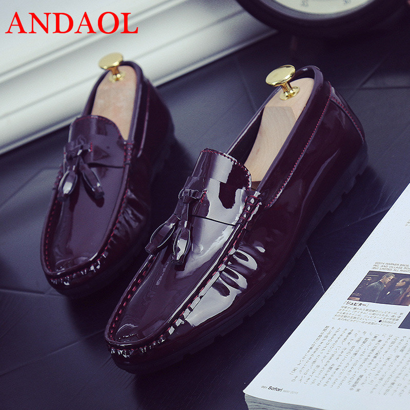 ANDAOL Men 39 s Leather Casual Shoes Top Quality Bright Leather Non Slip Light Driving Loafers Luxury Slip On Wedding Dress Shoes in Men 39 s Casual Shoes from Shoes