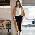 Женщины Осень Зима Мода Street Wear Comfort Кашемир Шерсть Теплый Длинный Мыс Пальто И Пиджаки Плащ для Женщин с Самым Лучшим Качеством