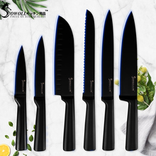 Sowoll Black Kitchen Knife Stainless Steel Knives Set Non-stick Japanese Professional Chef Bread Cutter Cooking Accessory