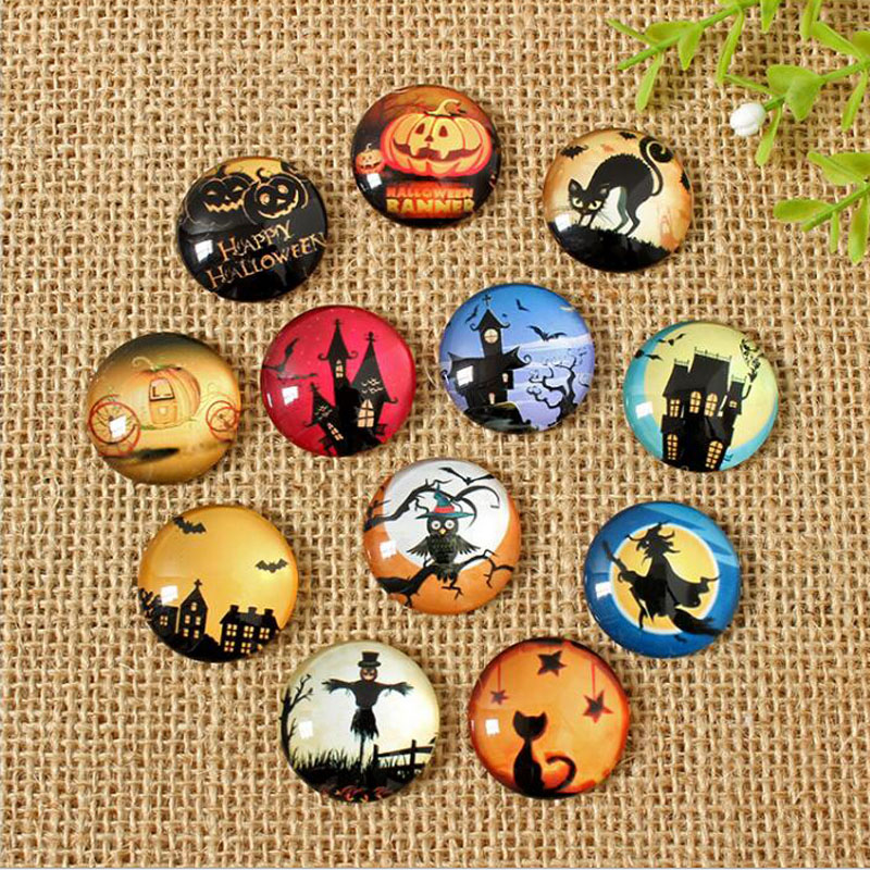 60pcs/lot Mixed Round Flatback Halloween Photo Glass Cabochon 8mm--35mm DIY Jewerly Earrings Accessories