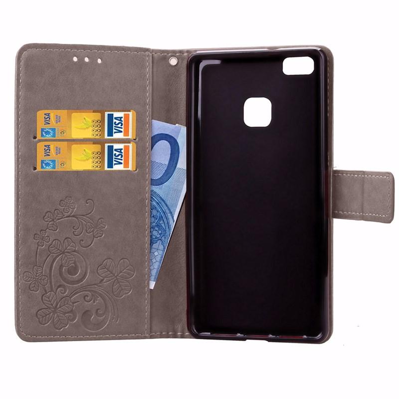 Cztery Liść Koniczyny Skrzynka dla Huawei P9 Okładka Huawei P9 Lite odwróć Wallet Case dla Huawei Hoesjes P9 Plus Telefon Coque PU skóra 7
