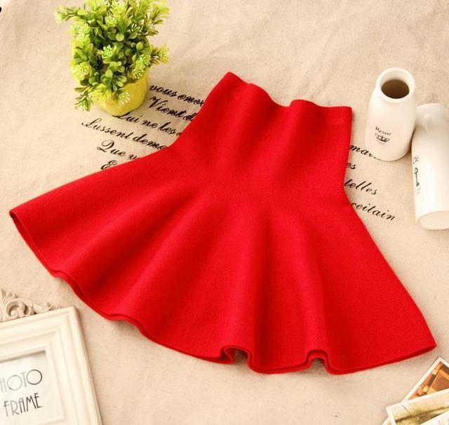Fashion Children's Garment Hair Autumn Clothing Short Skirt Knitting High Waist Thick Parenting Skirts Kids Clothing