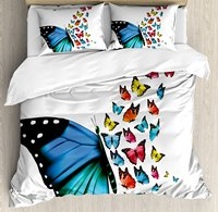 Butterfly Duvet Cover Set, Creative Conceptual Artwork Monarch Wings Colorful Realistic Natural Wildlife, 4 Piece Bedding Set
