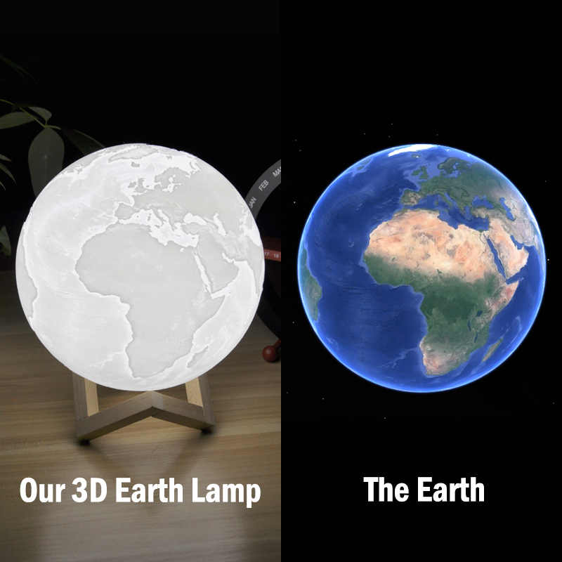 Hot 3D Print 16 Color Led Earth Lamp Colorful with Wood brac