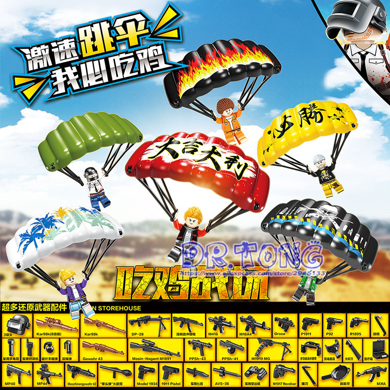 DR. TONG 60 pièces jeu PUBG blocs de construction gagnant poulet dîner armée arme militaire Parachute briques enfants jouets D100049