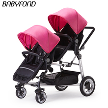 Kds Twin Baby Stroller High Landscape Two Baby trolley Hand