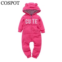 COSPOT 2018 New Bebes Clothes Newborn One Piece Fleece Hooded Jumpsuit Long Sleeved Spring Baby Girls