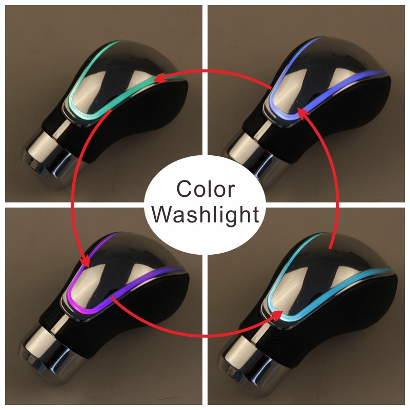 LED Touch induction lamp manual shift gear lever file to change gear shift lever gear dustproof cover true leather in Gear Shift Collars from Automobiles Motorcycles