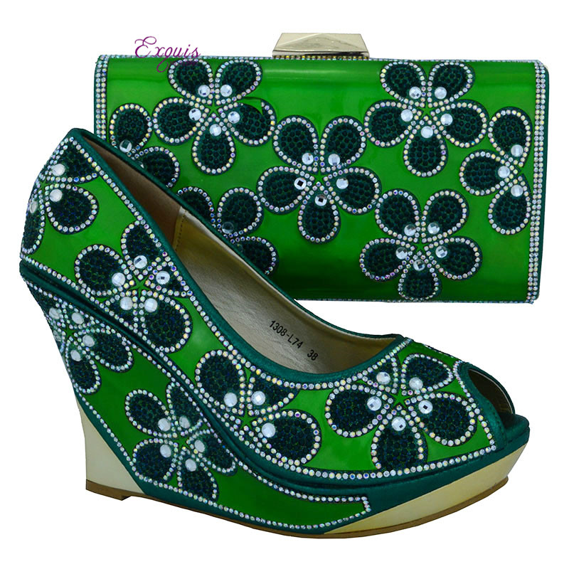 ФОТО Hot selling Italian shoes and matching bag sets with rhinestones, African Fashion women shoes and bag green 1308-L74
