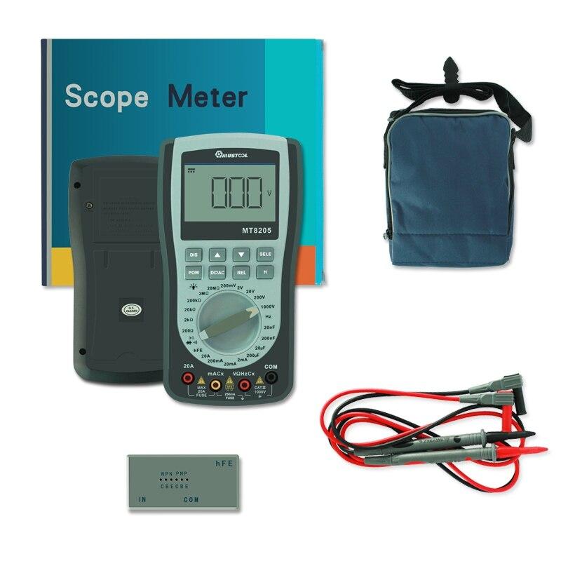 MUSTOOL MT8205 2 в 1 интеллектуальный портативный цифровой осциллограф мультиметр AC/DC Ток Напряжение Сопротивление Частота Di