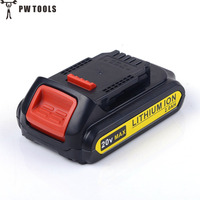 PW TOOLS 20V 2 0Ah Lithium Battery Long Life Rechargeable Replacement Tool Battery For Dewalt DCB201