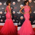 Hot Pink Tulle Celebrity Red Carpet Dresses Sexy Mermaid Prom Party Dress Tailored Beading Crystals Evening Gowns With Flowers