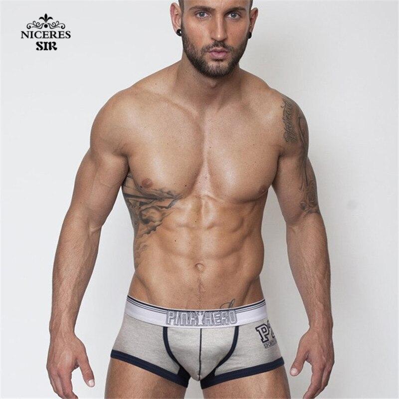 Image 2 - PINK HERO men underwear wholesale Men's Boxers Shorts Boy Male Underpant Solid Color Sexy Mans Underwears Fat-in Boxers from Underwear & Sleepwears