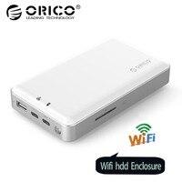 ORICO 2,5 дюймов Wi Fi HDD корпус Private HDD Cloud Storage Поддержка SD/TF карты Оффлайн резервного 8000 мАч Мощность банк USB3.1 Gen1/2