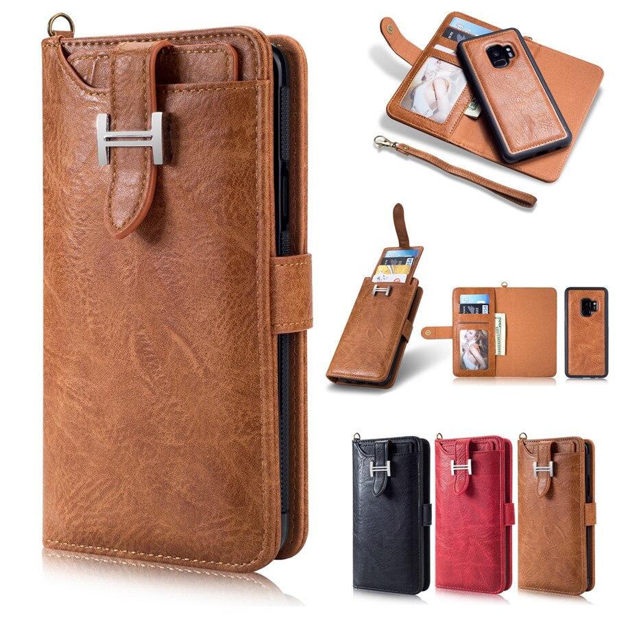 Многофункциональный Бумажник Флип кожа съемный телефон сумка для Samsung Galaxy S9 Дело Сумочка Кошелек слоты для карт Обложка Fundas S9
