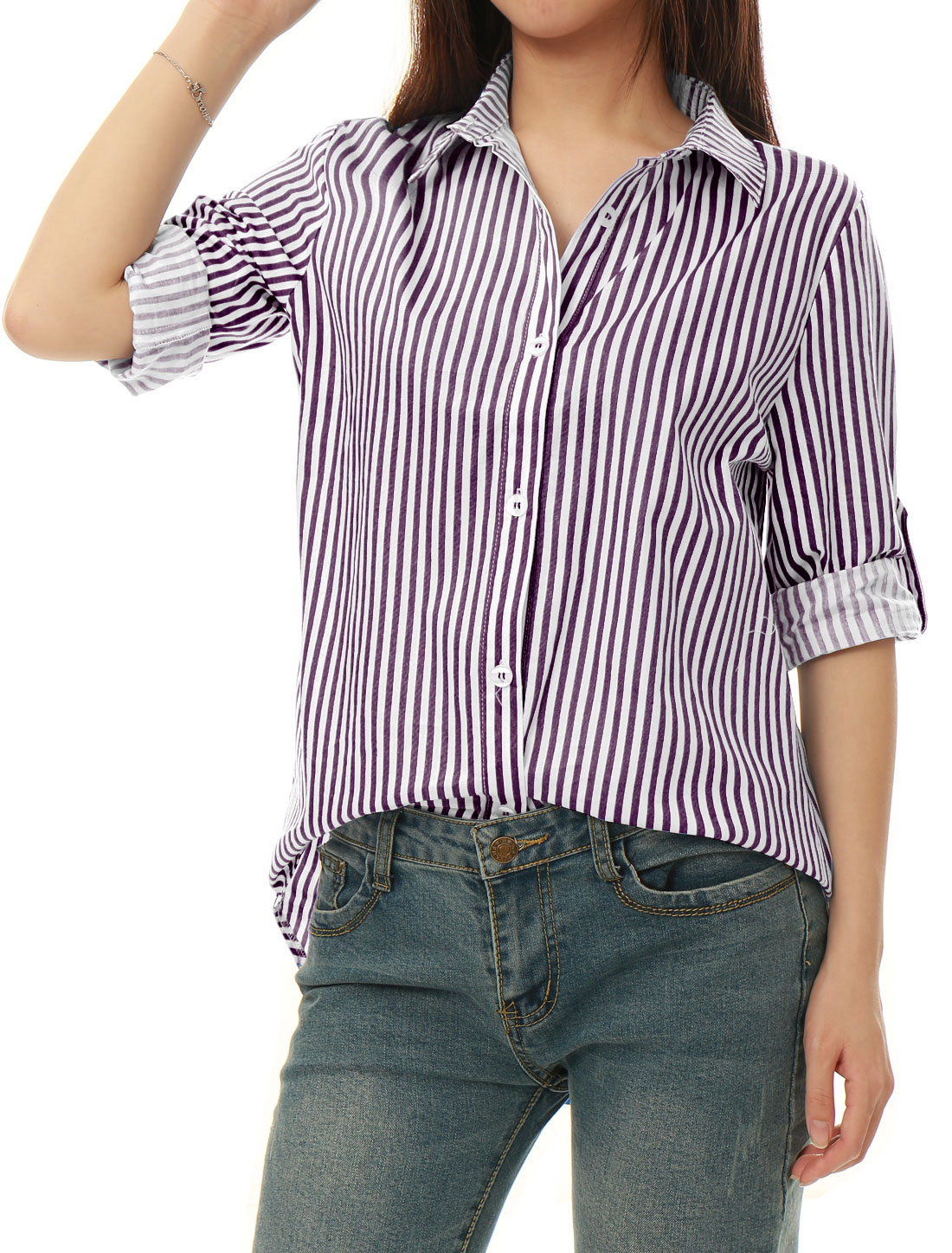 Allegra K Women Striped High Low Hem Roll Up Sleeves Shirt Dark