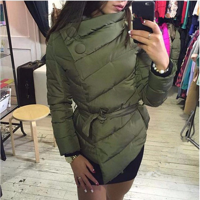 camperas manteau femme down Jacket women winter down coat female winter coat covered button belt parka slim overcoat N016