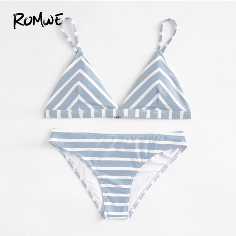 67585df274b74 Romwe Sport Blue Striped Triangle Bikini Set Women Sexy Beach Swimwear 2018  Summer New Clothing Female Slim Bikini Sets-in Bikinis Set from Sports ...