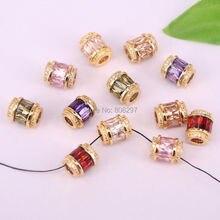 20 Stks Fonkelende Gouden Kleur Crystal Micro Pave CZ Grote Gat Kralen Mode Spacer Kralen Voor Diy Sieraden Maken