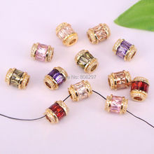 20Pcs Sparkling Gold Color Crystal Micro Pave CZ Big Hole Beads Fashion Spacer Beads For Diy Jewelry Making