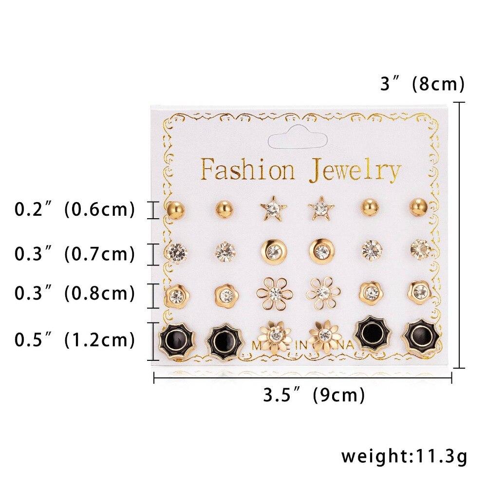 12 Pairs/set Stud Earrings Set With Card Transparent Zircon Balls Love Flowers Earrings Women Imulated Pearl Earrings Jewelry 23