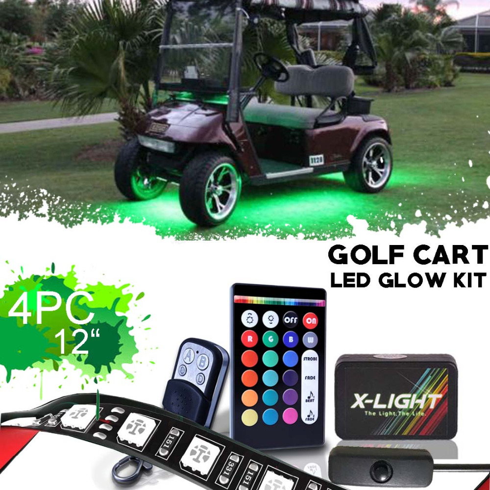 Us 44 99 X Light Clubcar Villager Lsv Golf Cart Led Neon Glow Lights Pod Kit With Double Wirless Remote Switch 4x12