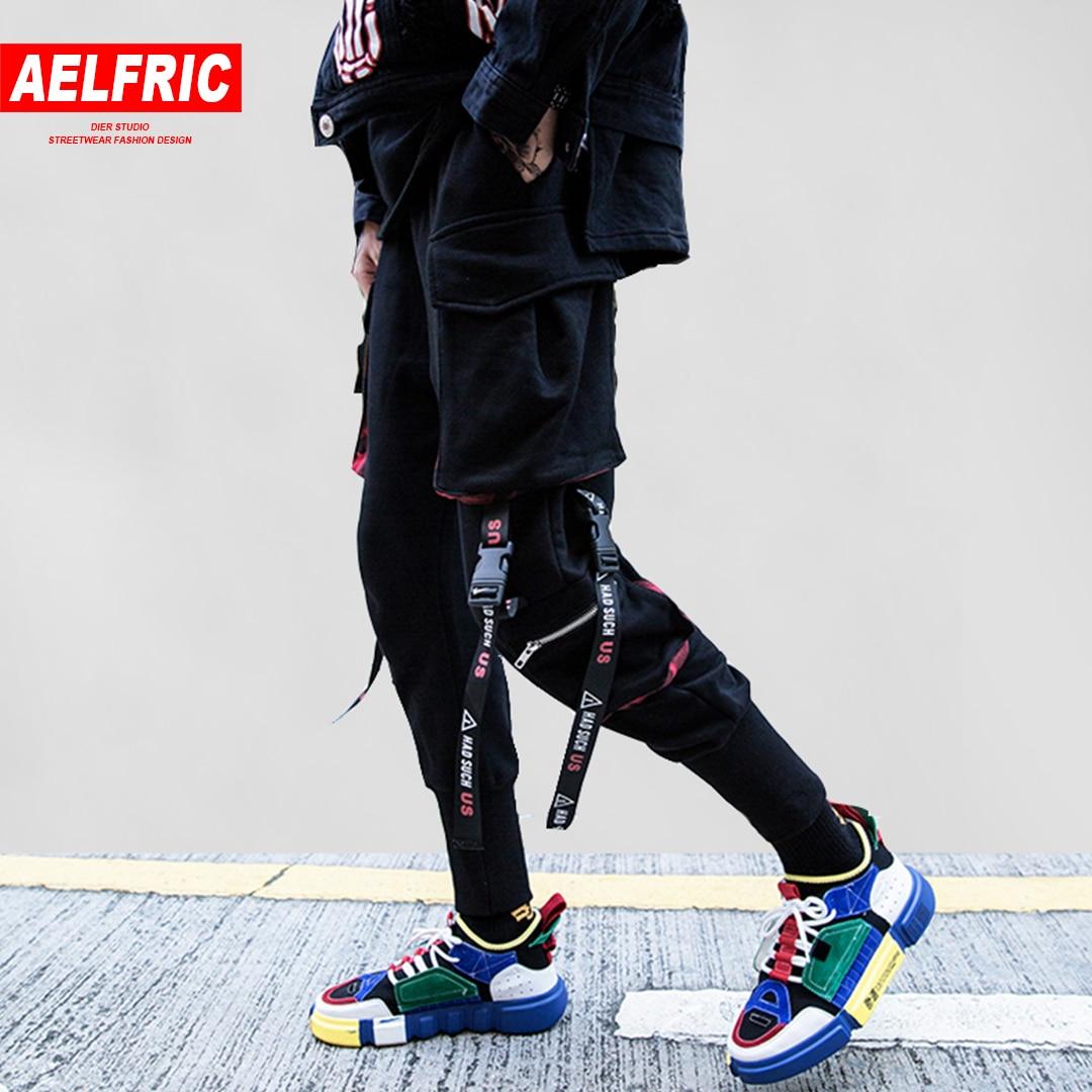 AELFRIC Ribbons Pockets Harem Pants Men Autumn Winter Casual Sweatpants Hip Hop Joggers New Design Slim Fit Pencil Pants KJ132