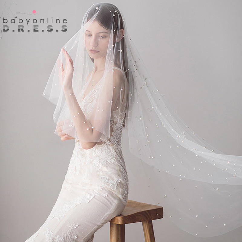 Ivory Wedding Veil Voile Beaded Mariage Tulle Pearl Soft Layer One With Cheap Veu-De-Noiva