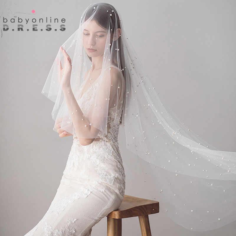 Voile Mariage 1,2 M Eine Schicht Elfenbein Hochzeit Schleier mit Perle Perlen Weiche Tulle Braut Schleier Günstige Hochzeit Zubehör Veu de Noiva