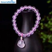 Rosa claro Tamaño 10mm Perlas Naturales de Cristal Pulseras con Forma de Corazón Amor Colgante Suerte para Niña Sola vuelta joyería