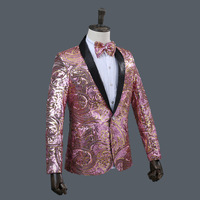 New Slim Male Suits Blazer Gold Sequins Embroidery Fashion Men Performance Costume Stage Wear Star Concert Jacket Coat