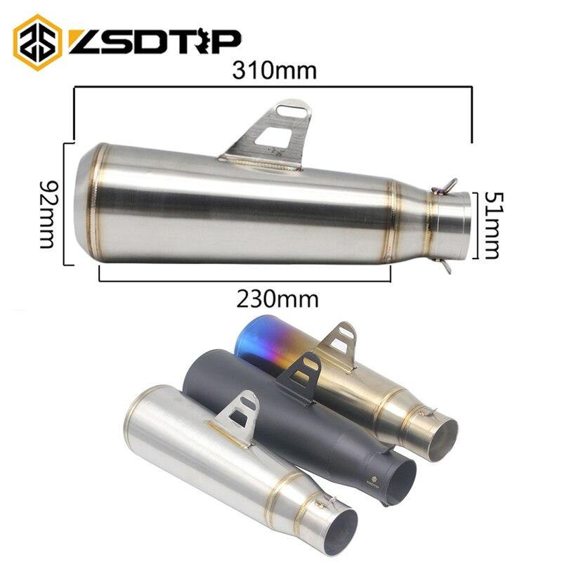 ZSDTRP Universel Moto Silencieux D'échappement Astuce Tuyau Silp Sur Modifié 310mm SC Système D'échappement Silencieux En Acier Inoxydable